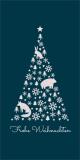 Weihnachtskarte in Petrol mit Weihnachtsbaum L-DIN Hochformat