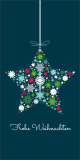 Weihnachtskarte in Petrol mit Weihnachtsstern L-DIN Hochformat