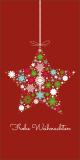 Weihnachtskarte in Rot mit Weihnachtsstern L-DIN Hochformat