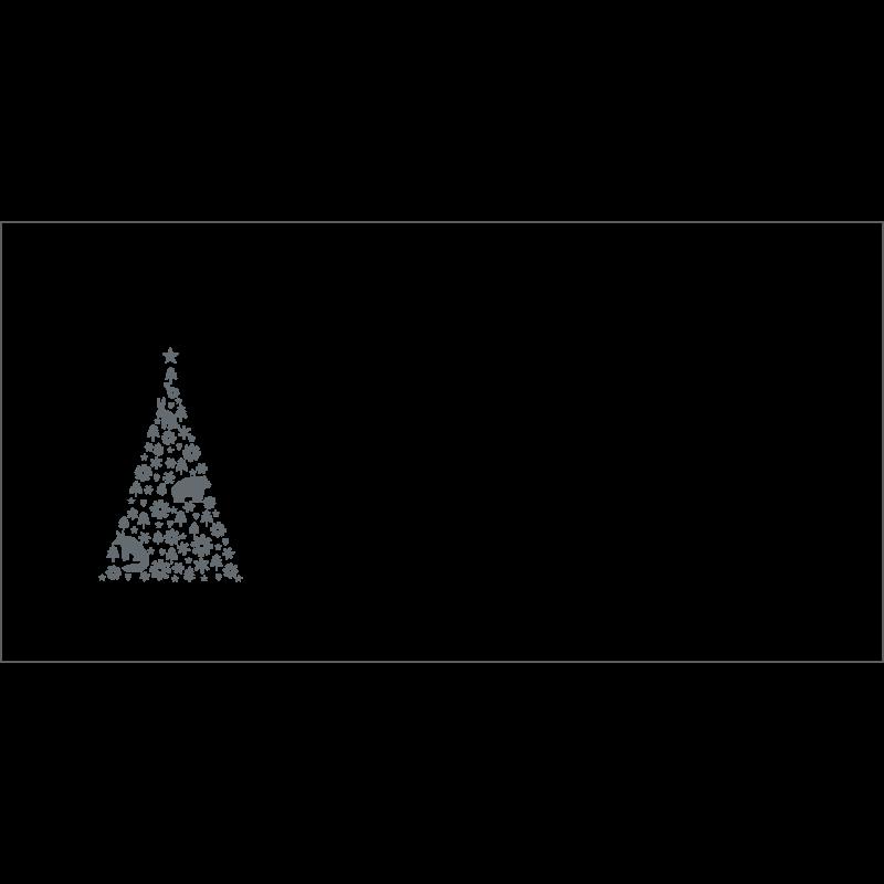 Couvert Weihnachtskarte in Grau mit Weihnachtsbaum