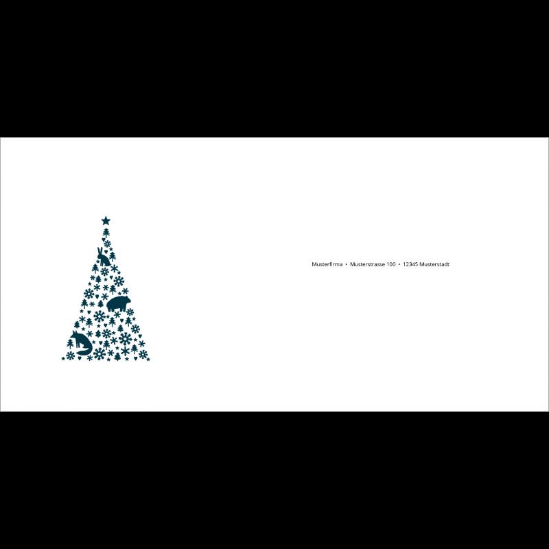 Couvert Weihnachtskarte in Petrol mit Weihnachtsbaum