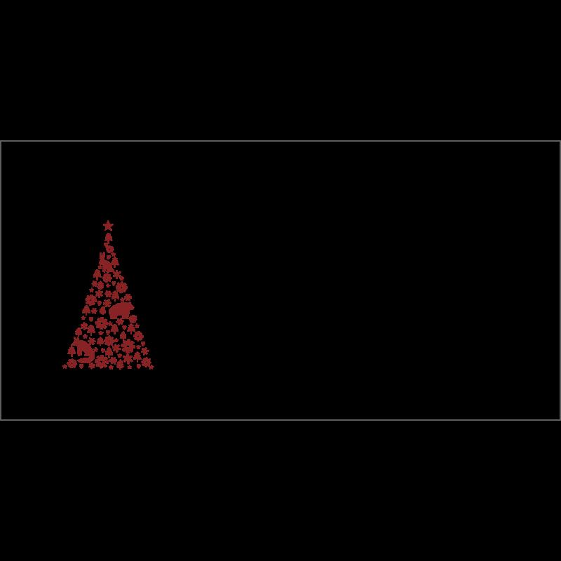 Couvert Weihnachtskarte in Rot mit Weihnachtsbaum